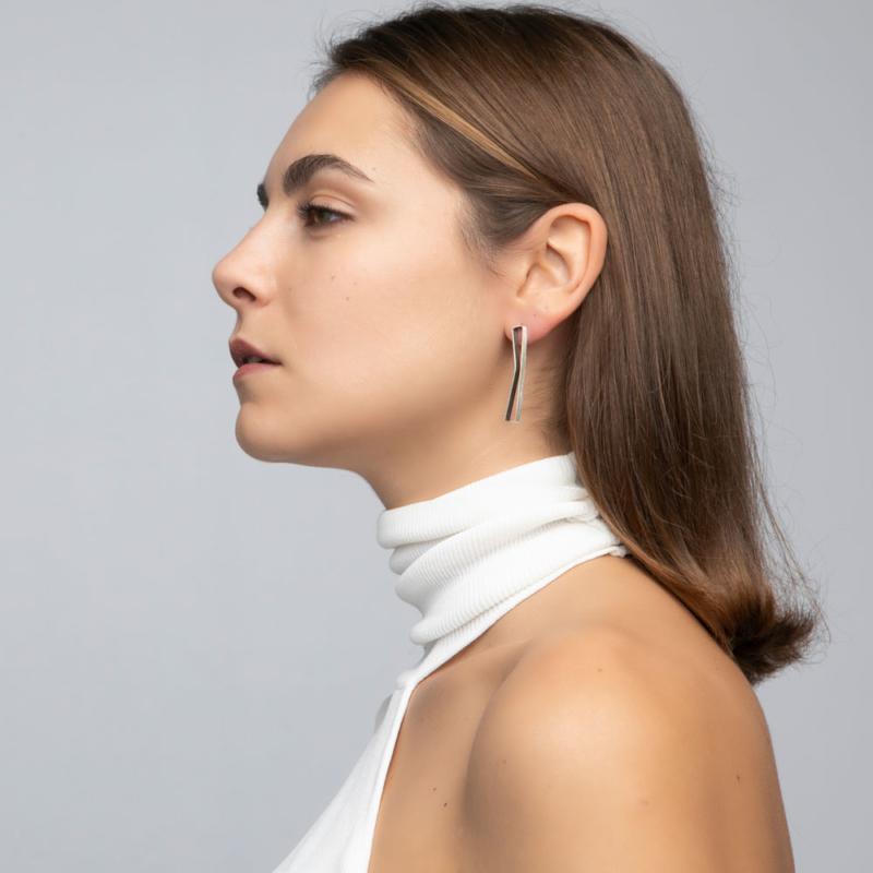 Rectangular Silver Outline Stud Earrings