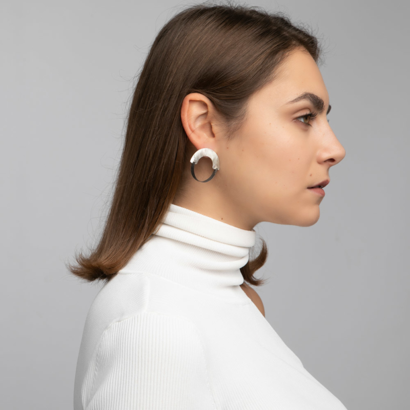 Two Tone U Shape Structural Earrings