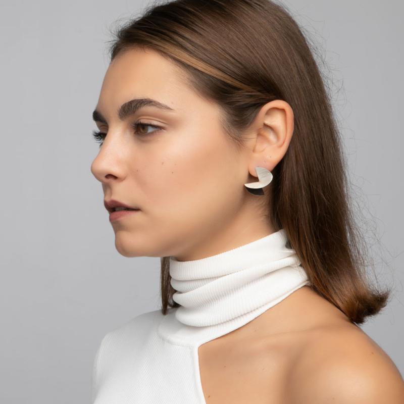Two Tone Symmetry Silver Earrings