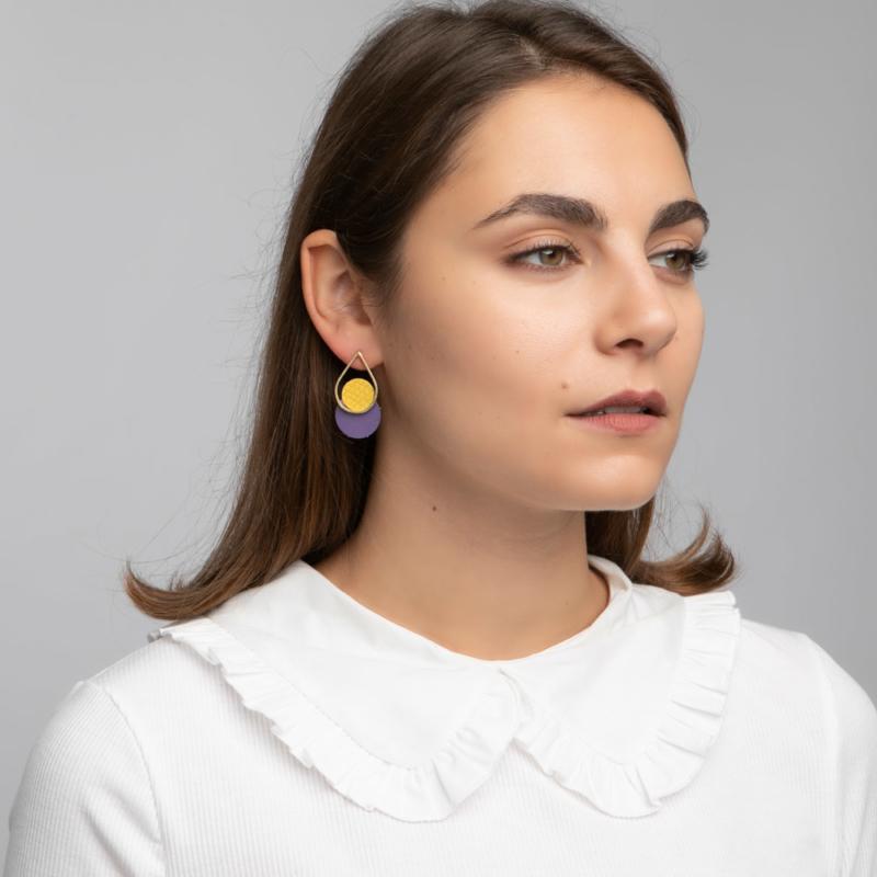 Teardrop Leather and Brass Stud Earrings