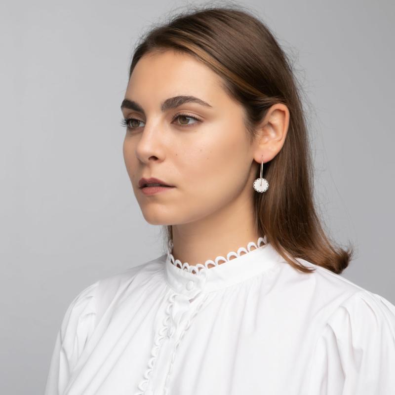 Disc Charm Hoop Earrings