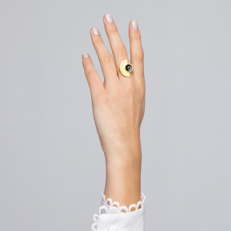 Semi Circle Gold Ring with Enamel