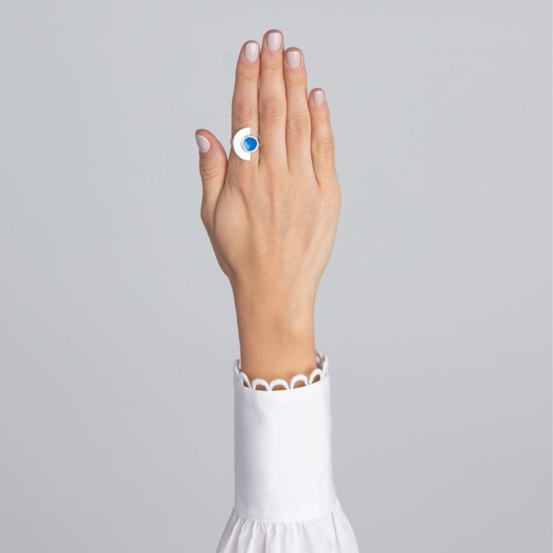 Semi Circle Silver Ring with Enamel
