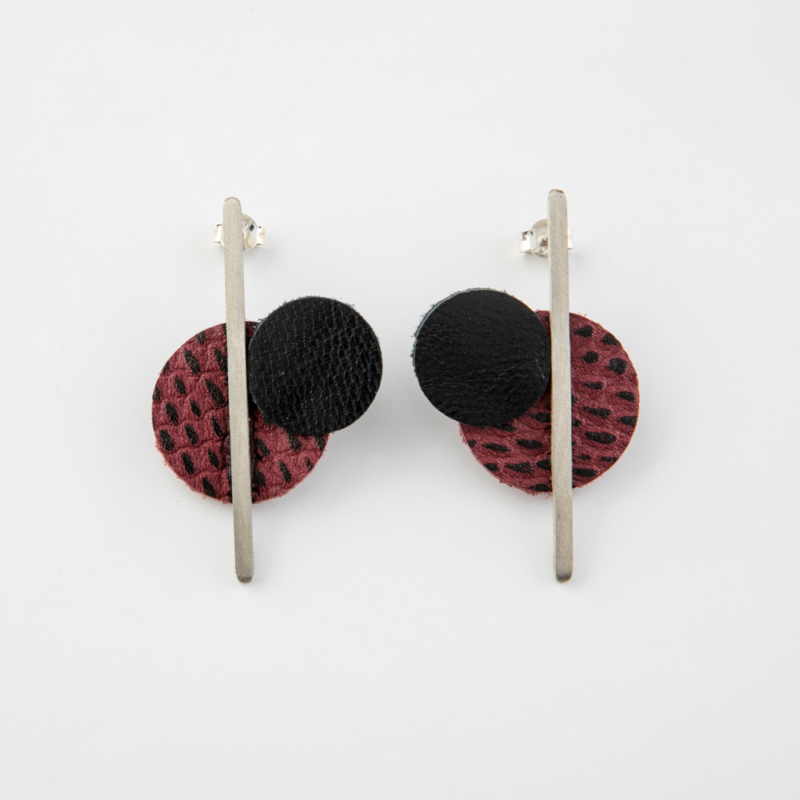 Long Bar Leather and Brass Stud Earrings