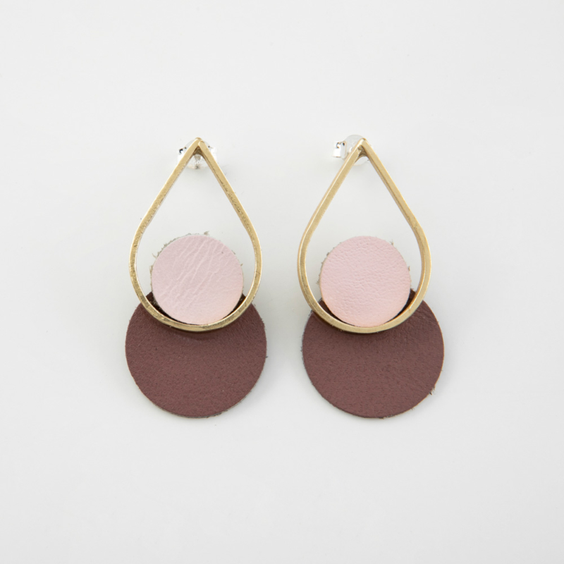Teardrop Leather and Brass Stud Earrings