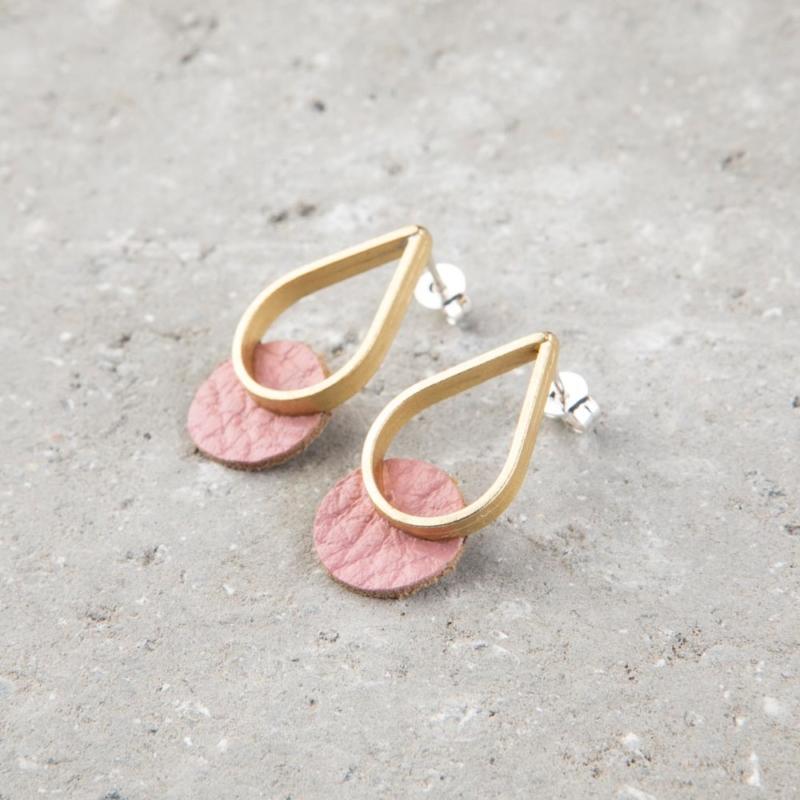 Mini Teardrop Leather and Brass Stud Earrings