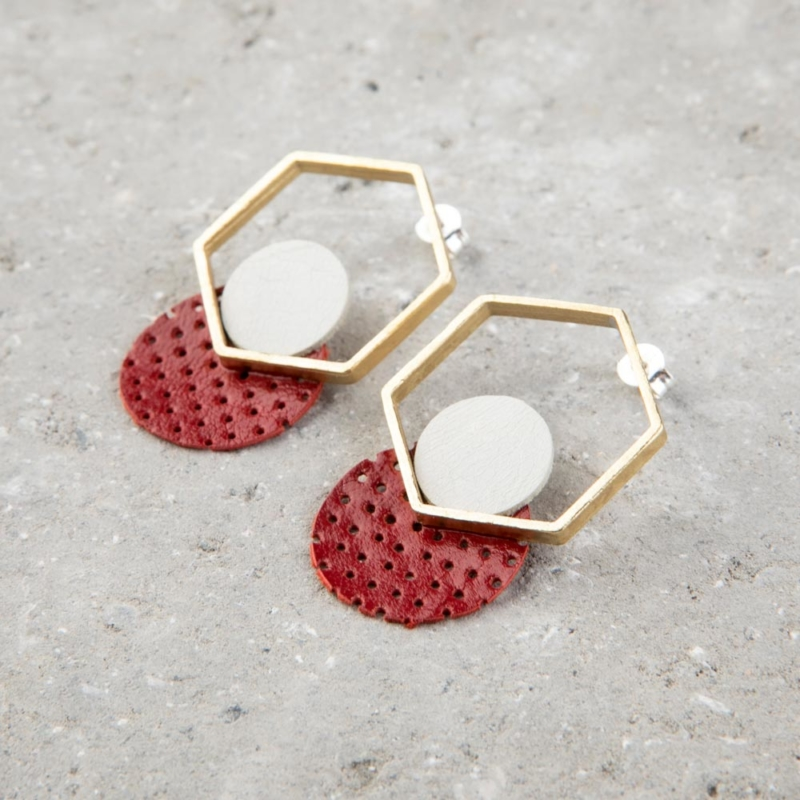Statement Leather and Brass Stud Earrings