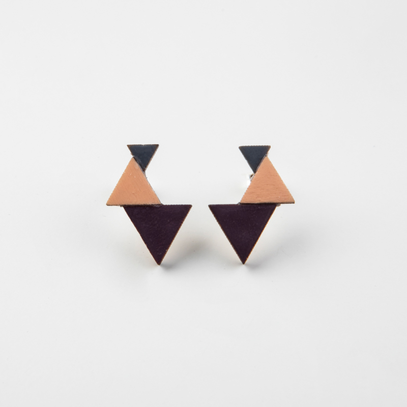 Colourful Geometric Wooden Studs