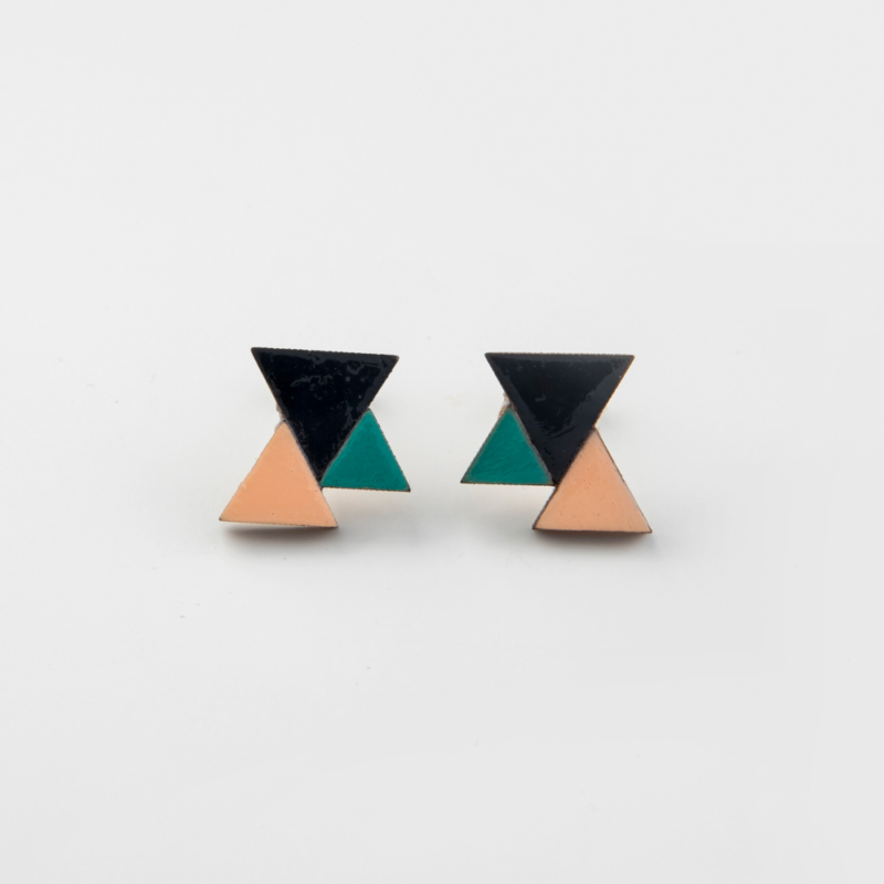 Three Tone Geometric Wooden Studs