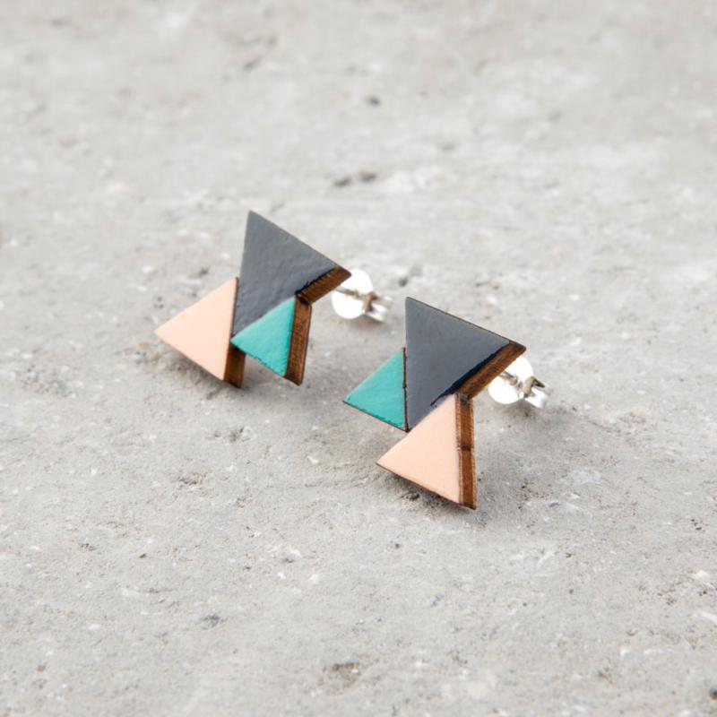 Three Tone Geometric Wooden Studs