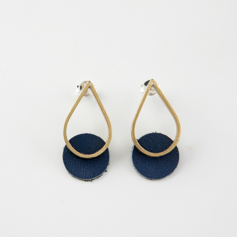 Mini Teardrop Leather and Brass Stud Earrings
