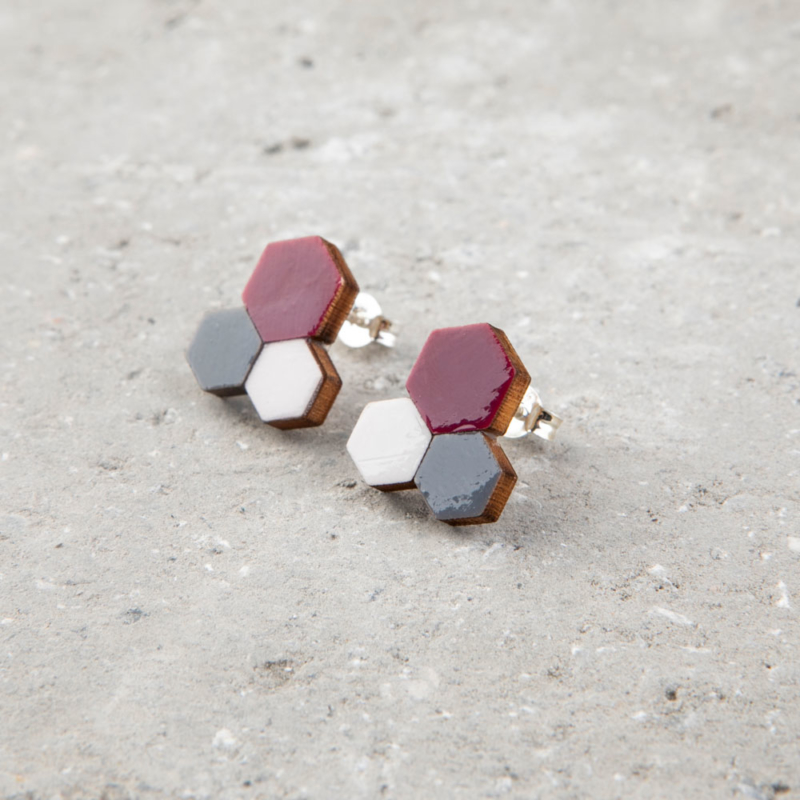 Three Tone Molecular Wooden Studs