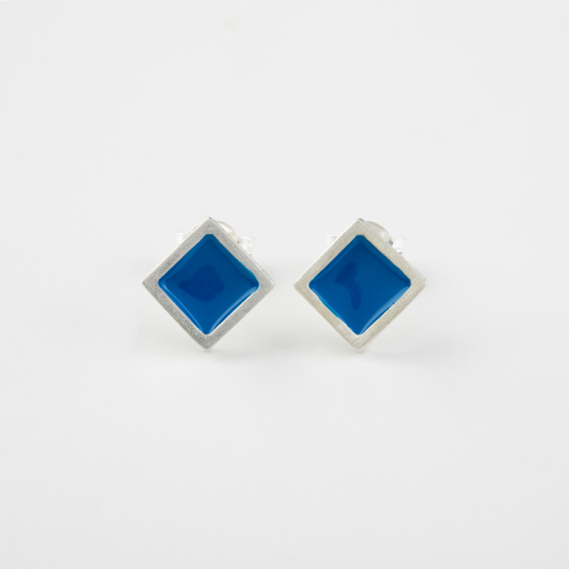 Diamond Shaped Enamel Stud Earrings