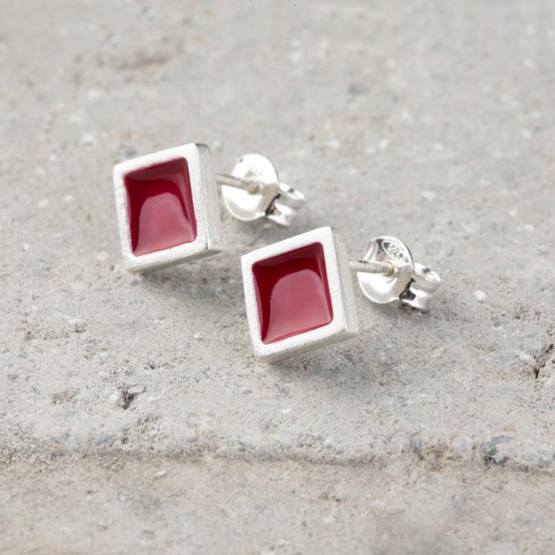 Diamond Shaped Enamel Stud Earrings
