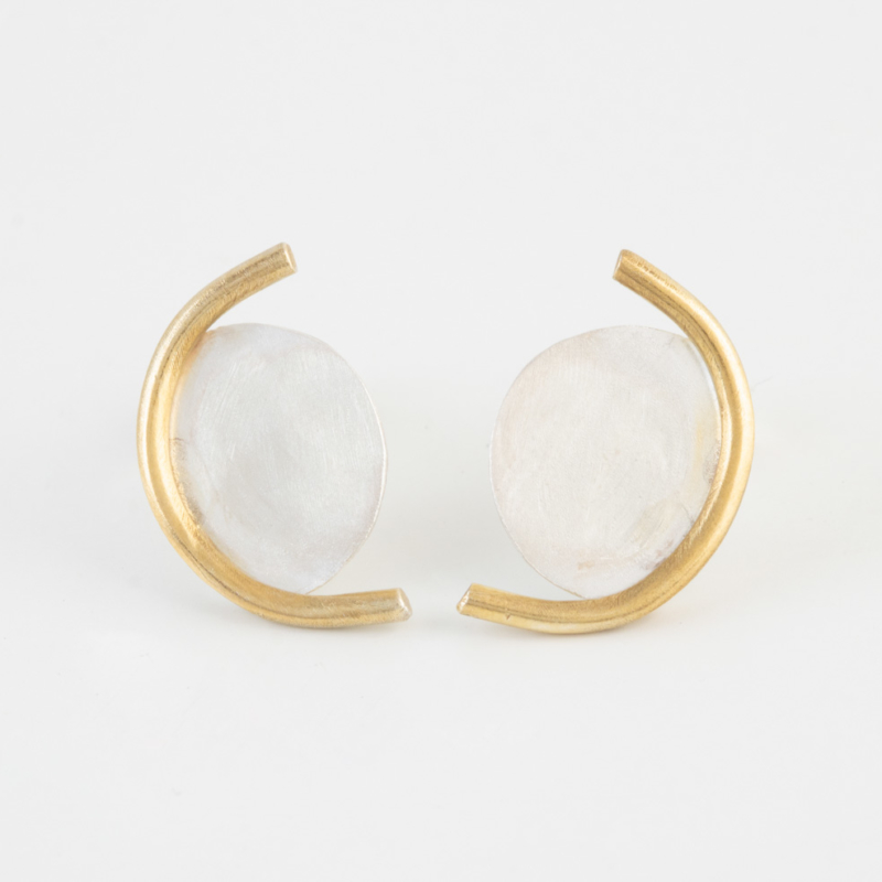 Two Tone Crescent Moon Earrings