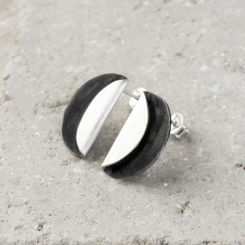 Eclipse Silver Stud Earrings