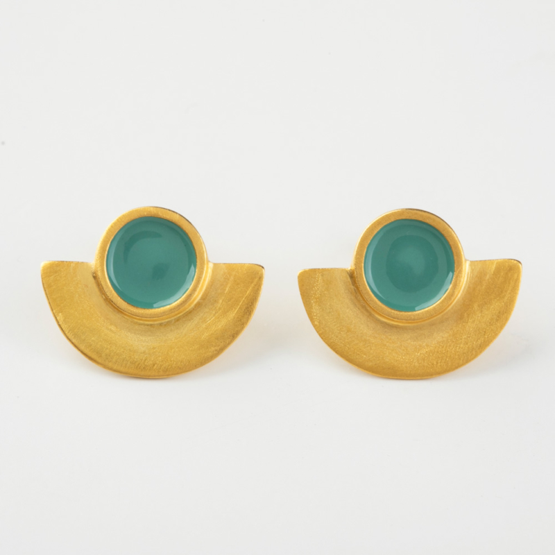 Geometric Gold and Enamel Stud Earrings