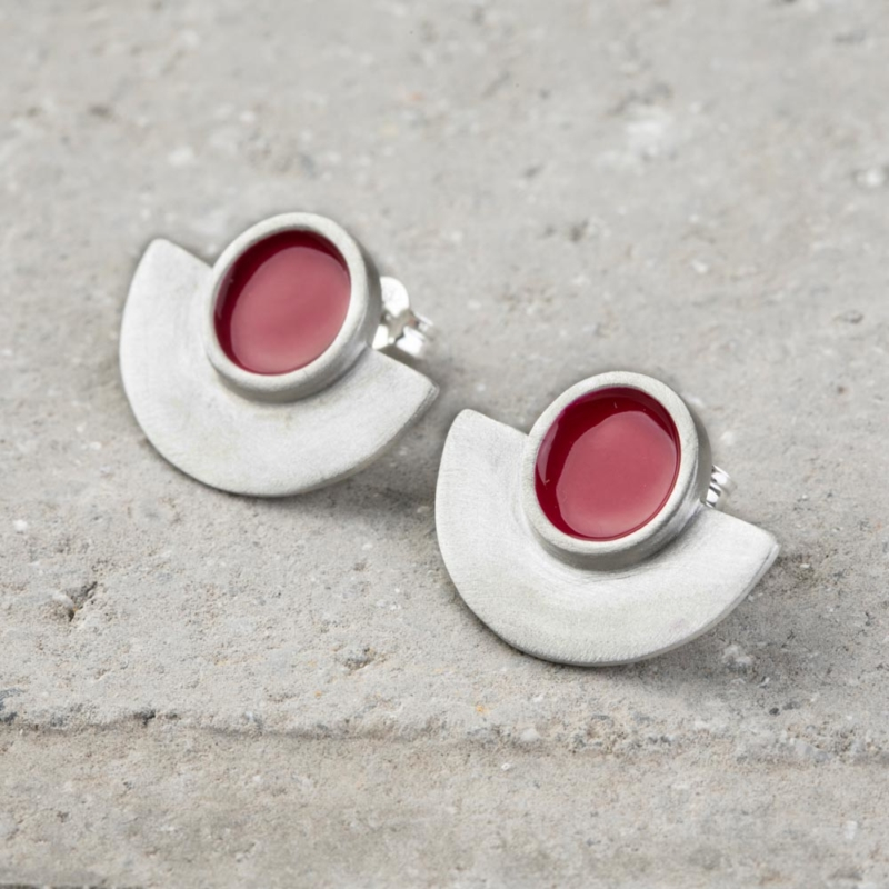 Geometric Enamel Silver Stud Earrings