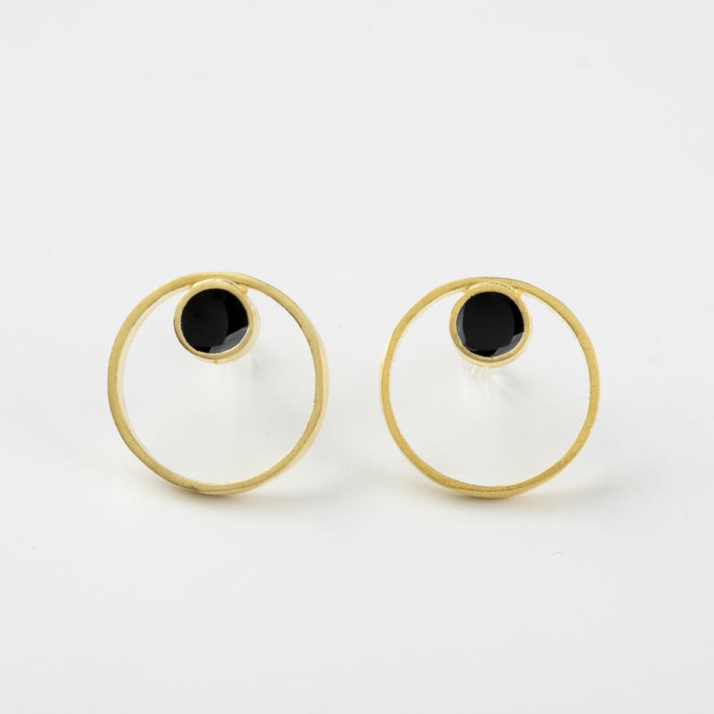 Double Circle Enamel Stud Earrings