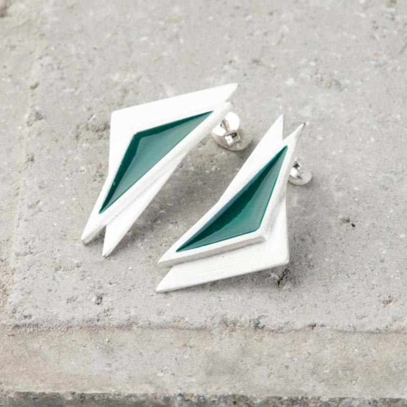Triangle Enamel Stud Earrings