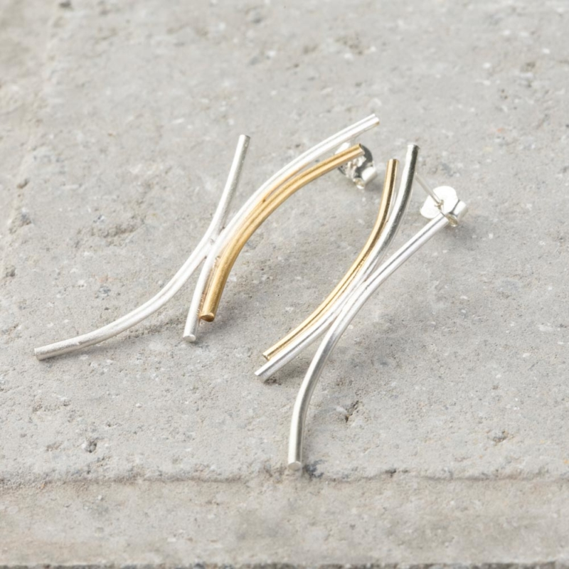 Two Tone Irregular Line Earrings