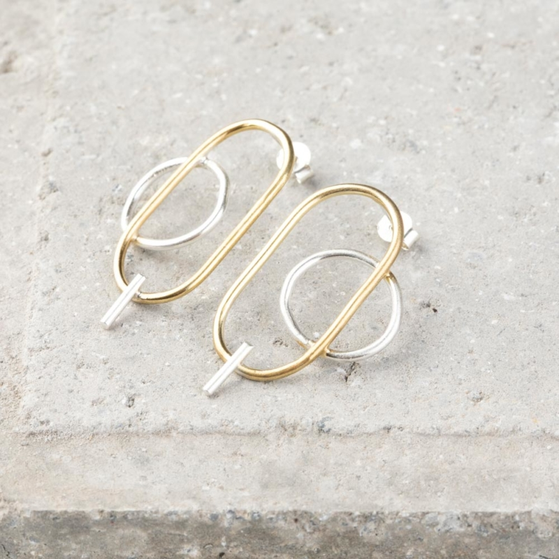 Two Tone Double Circle Earrings