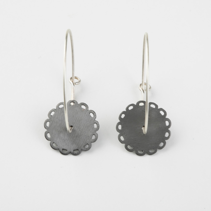 Disc Charm Hoop Earrings