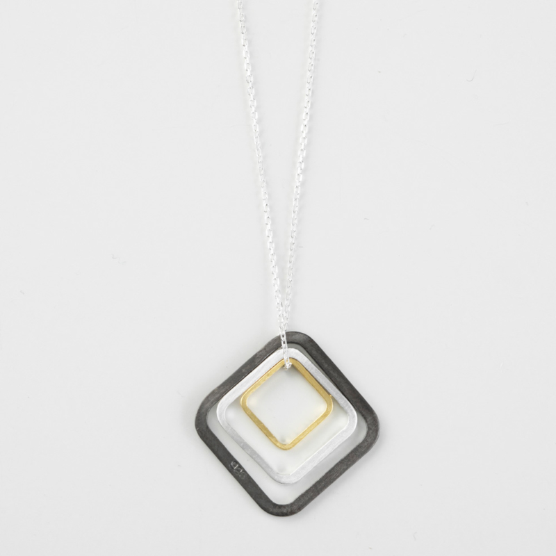 Three Tone Square Pendant Necklace