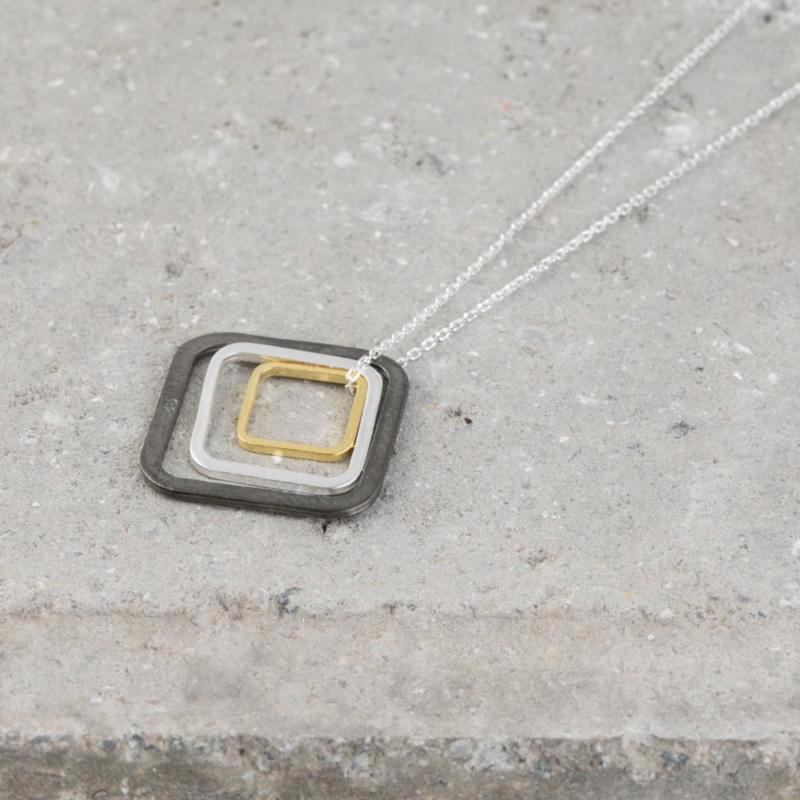 Three Tone Square Pendant Necklace
