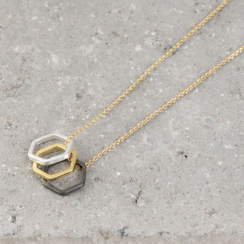 Three Tone Polygon Pendant Necklace