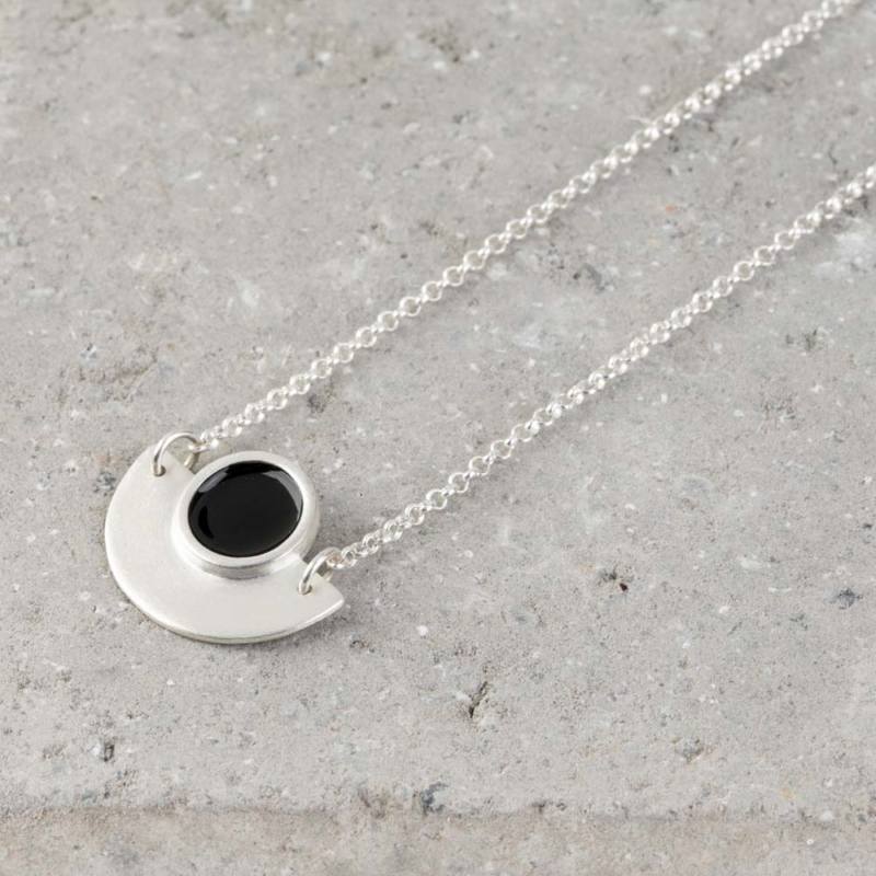 Geometric Silver and Enamel Necklace