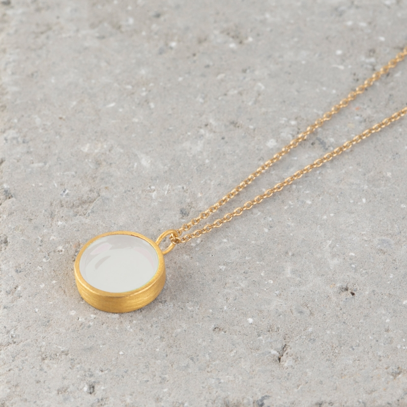Circle Gold and Enamel Necklace