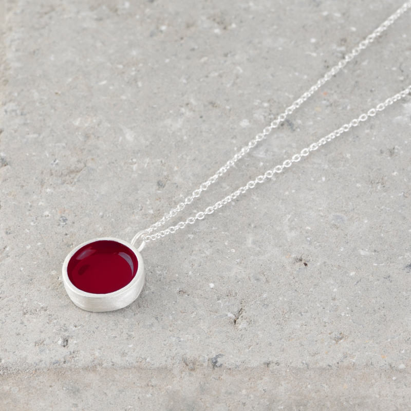 Circle Silver and Enamel Necklace