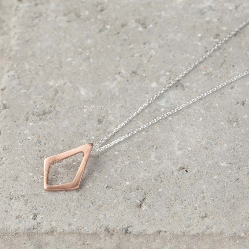 Mini Diamond Shaped Silver Necklace