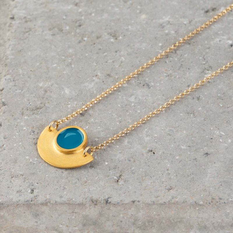 Geometric Gold and Enamel Necklace