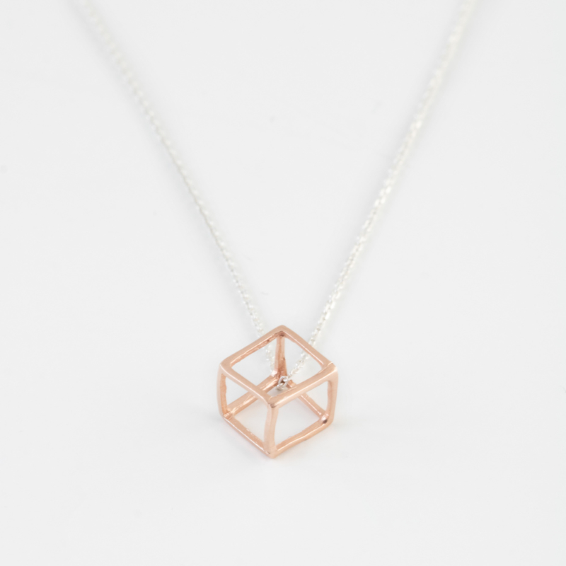 Mixed Tone 3D Cube Necklace