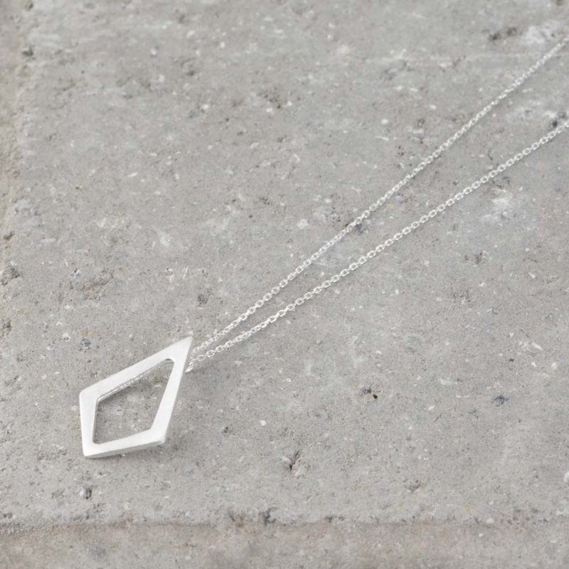 Diamond Shaped Silver Necklace