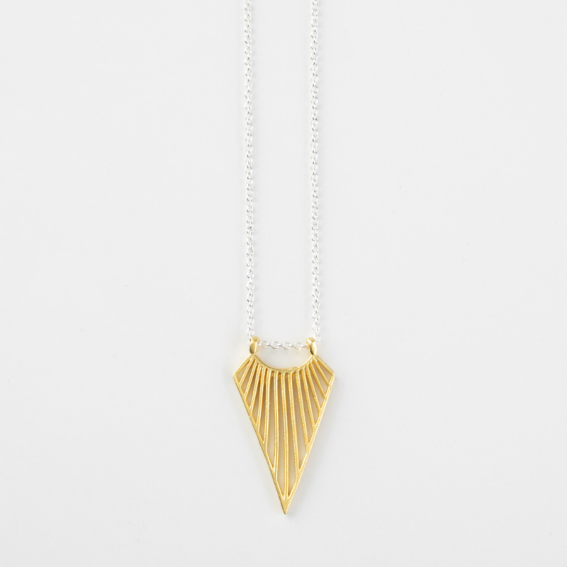 Geometric Statement Necklace with Striped Pattern