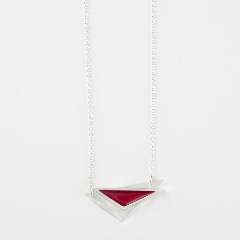 Triangle Silver and Enamel Necklace