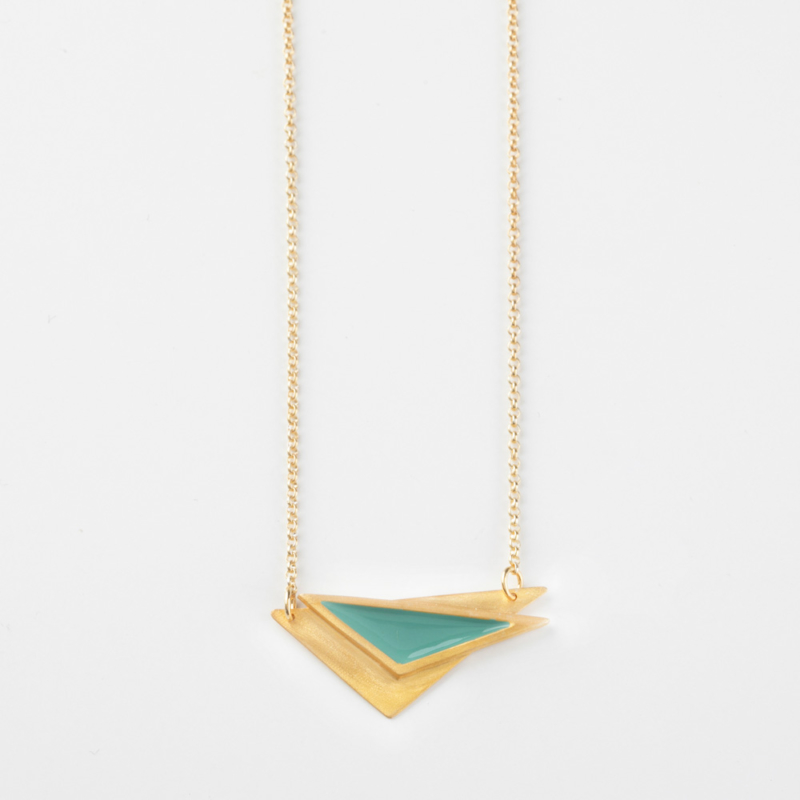 Triangle Gold and Enamel Necklace