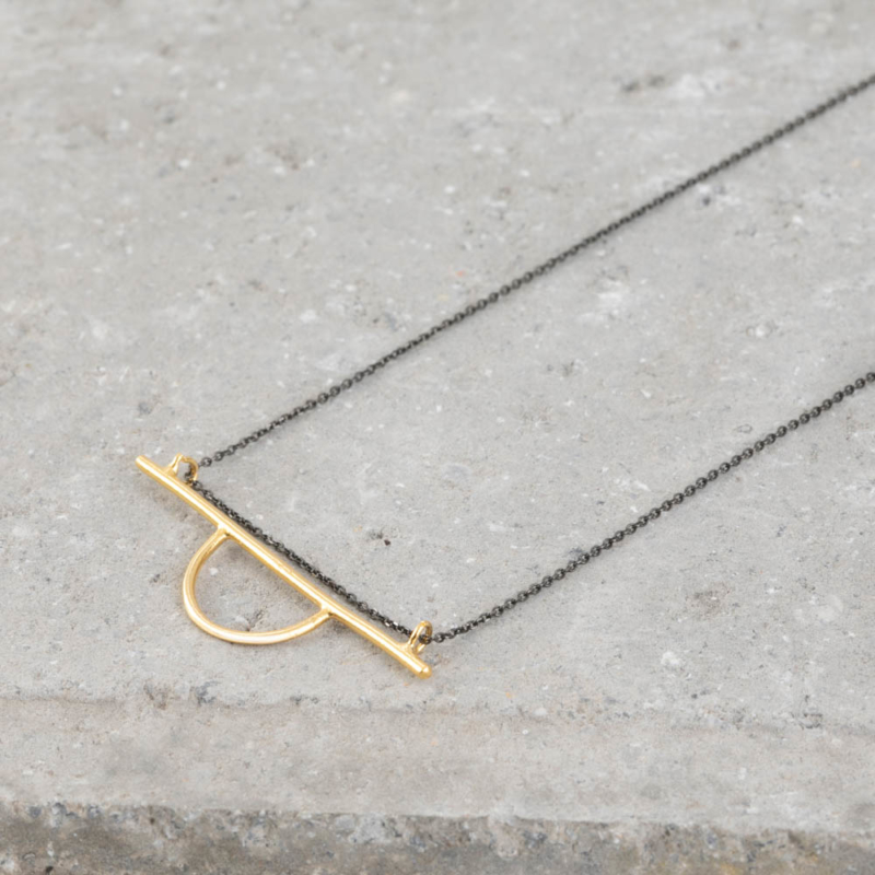 Half Circle and Bar Necklace