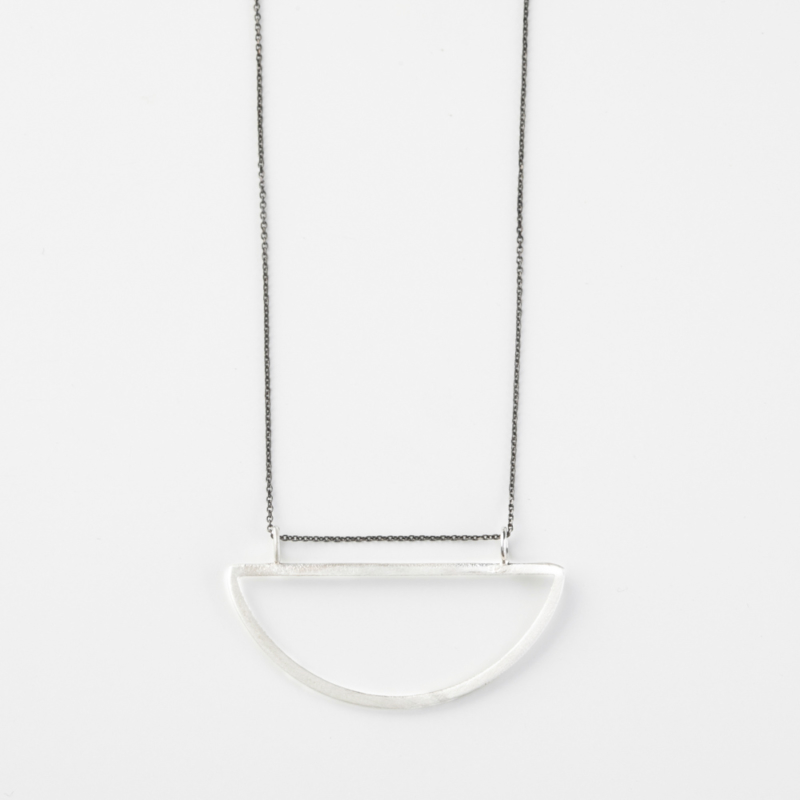 Half Circle Silver Necklace