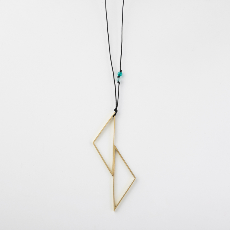 Statement Geometric Brass Necklace