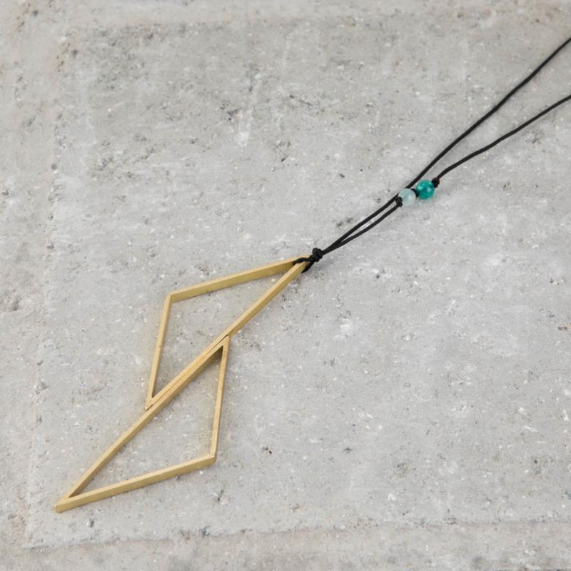 Statement Geometric Brass Necklace