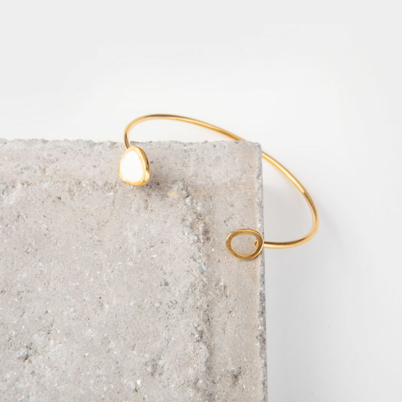 Gold and Enamel Cuff Bangle