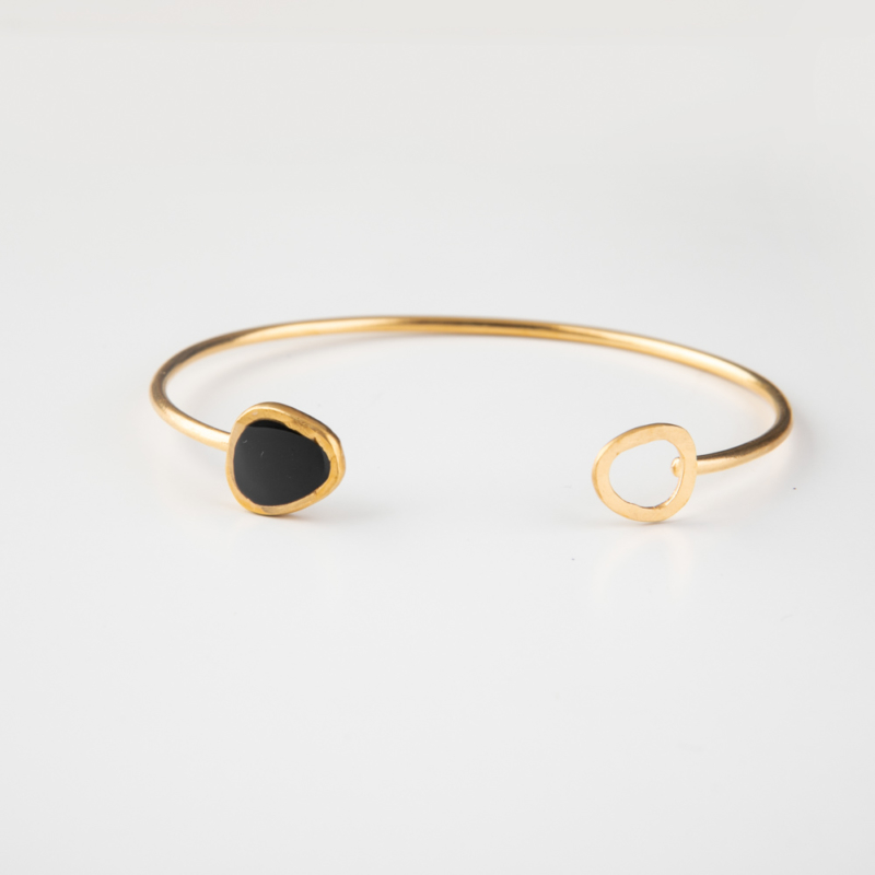 Gold and Enamel Cuff Bangle