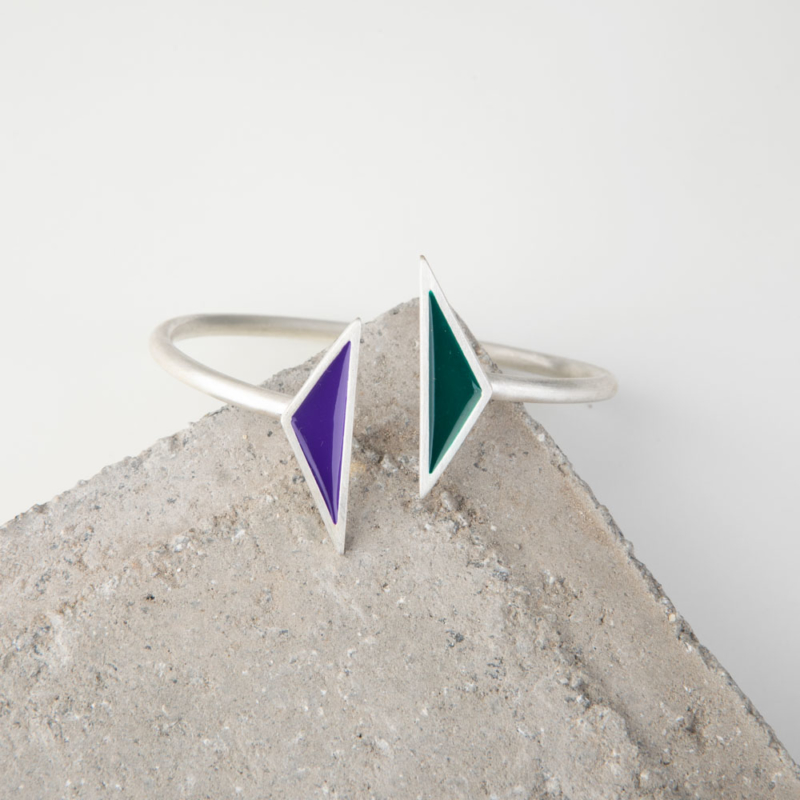 Silver Bangle with Enamel Details