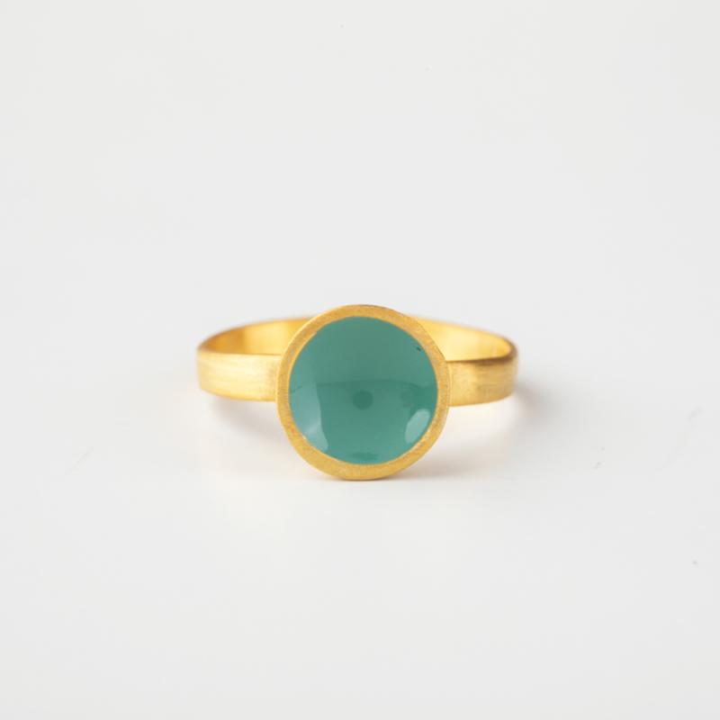 Circle Gold and Enamel Ring