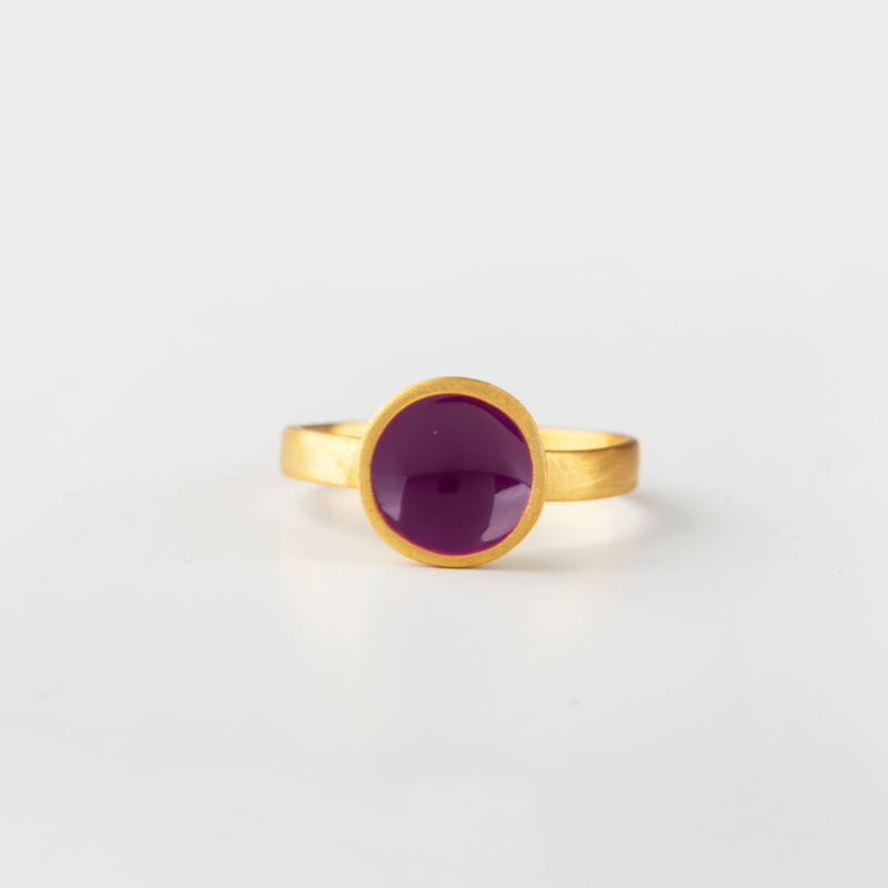 Circle Gold and Enamel Ring