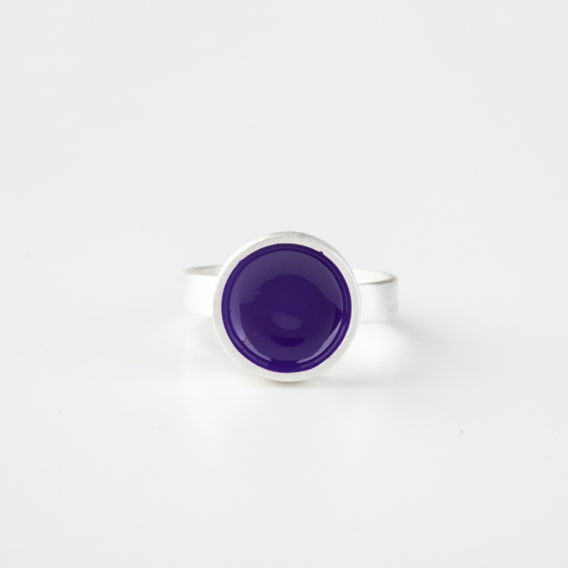 Circle Silver Ring with Enamel